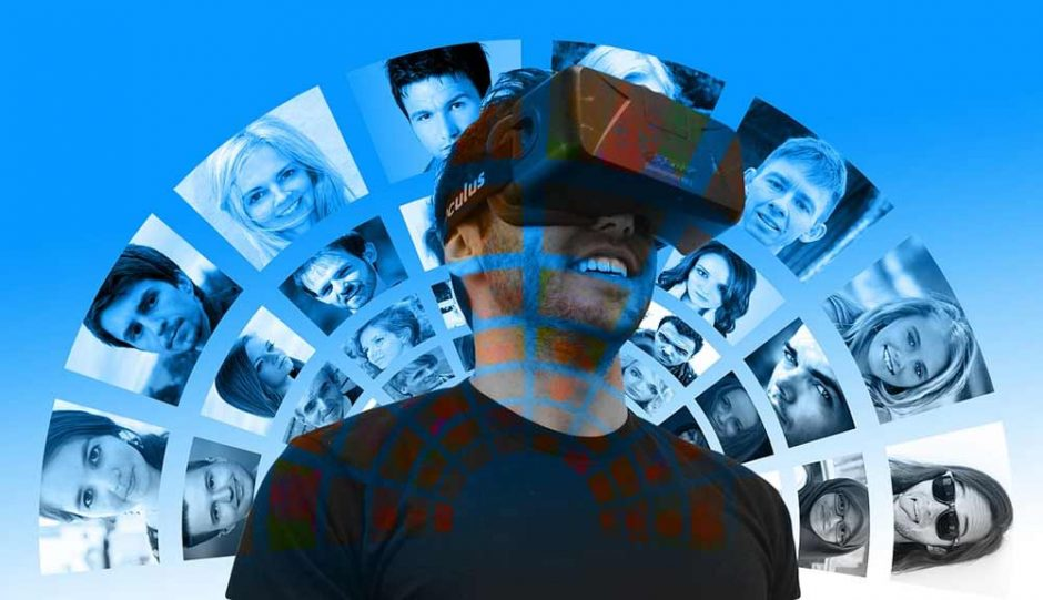 A man wearing a VR headset while there are some images projected behind him
