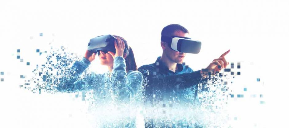 2 users using Virtual reality headsets and digitally evolving