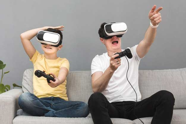 Kid and an adult playing virtual reality game together