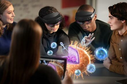 Group of people using Microsoft Hololens 2