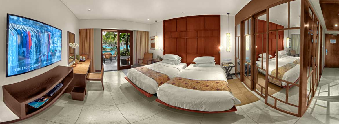 Padma Resort Legian Bali Hotel room in VR, an equirectangular picture of the Lagoon Excess Room, VR photo by VizioFly
