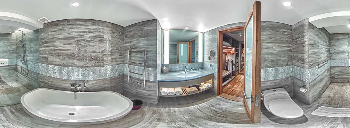 Padma Resort Legian Bali Hotel room in VR, an equirectangular picture of the New Chalet Room Resroom, VR photo by VizioFly