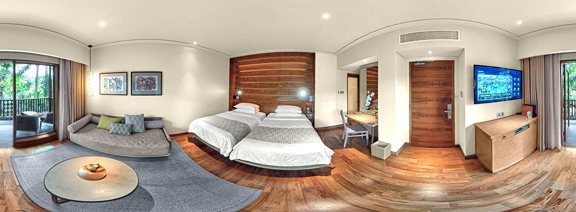 Padma Resort Legian Bali Hotel room in VR, an equirectangular picture of the New Chalet Room, VR photo by VizioFly